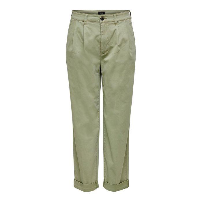 ONLY γυναικείο ψηλόμεσο cropped παντελόνι chino - 15195252 - Λαδί