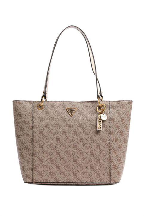 Guess γυναικεία τσάντα ώμου με all-over logo print και μεταλλικό λογότυπο ''Νoelle'' - HWBB7879230 - Μπεζ