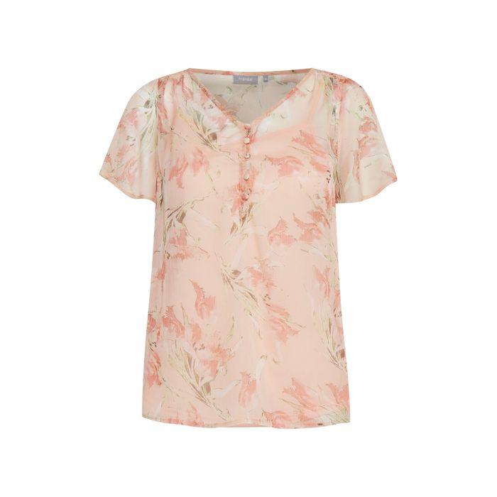 Fransa γυναικεία μπλούζα με floral print - 20607757 - Ροζ