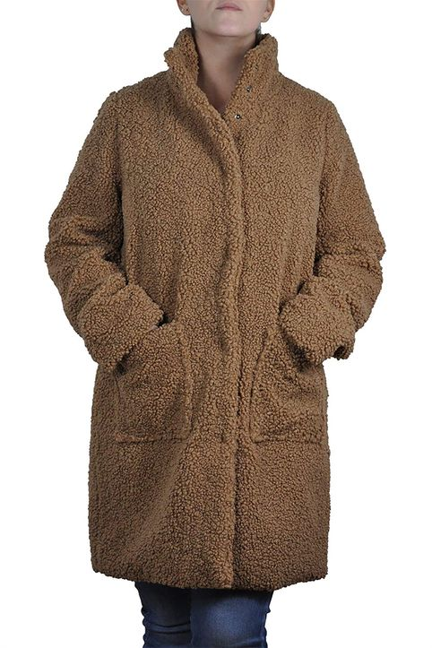 Fransa γυναικείο παλτό μονόχρωμο με απλικέ τσέπες - 20608425 - Καμηλό