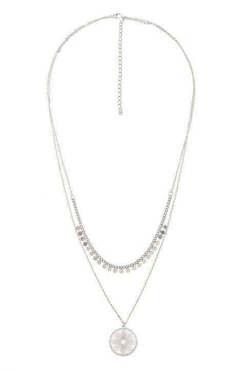 The Fashion Desk γυναικείo κολιέ με διπλή αλυσίδα και μενταγιόν επιχρυσωμένο 39 cm - 0480500205 - Ασημί