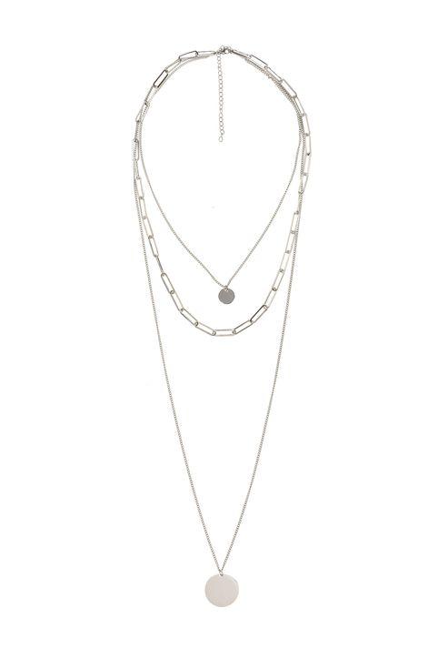 The Fashion Desk γυναικείo κολιέ με τριπλή αλυσίδα και μενταγιόν επιχρυσωμένο 36.5 cm - 0480510205 - Ασημί