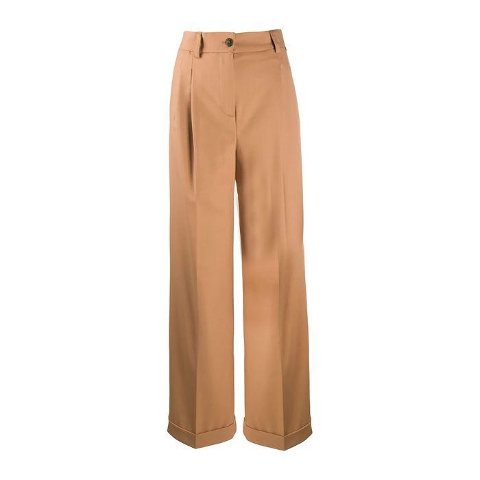 Twinset γυναικείο ψηλόμεσο παντελόνι σε φαρδιά γραμμή - 202TP2273 - Μπεζ