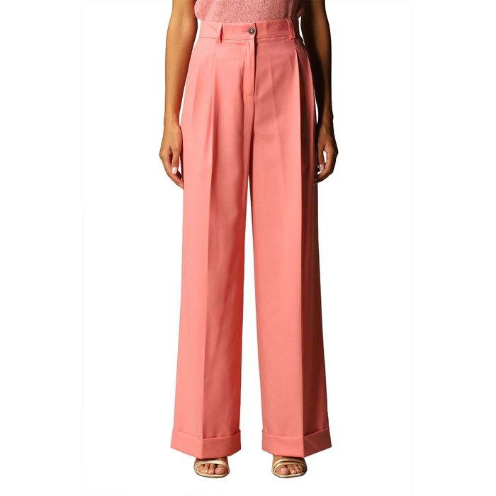 Twinset γυναικείο ψηλόμεσο παντελόνι σε φαρδιά γραμμή - 202TP2273 - Ροζ