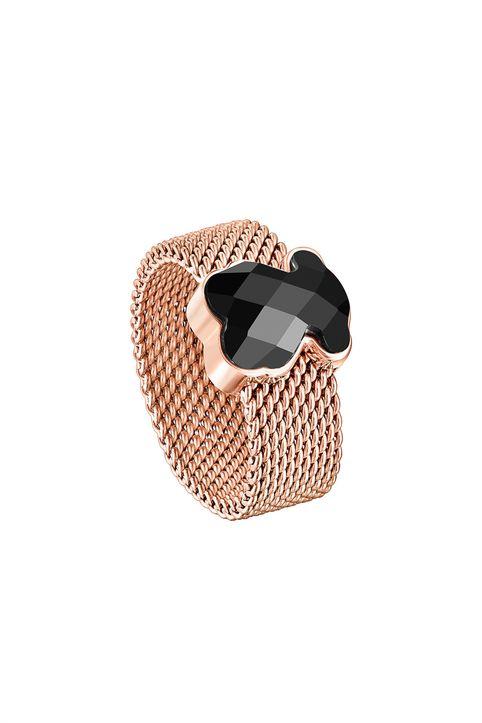 TOUS γυναικείο δαχτυλίδι Mesh Color από Ατσάλι με επιμετάλλωση σε ροζ χρώμα με Όνυχα - 1002791214 - Ροζ