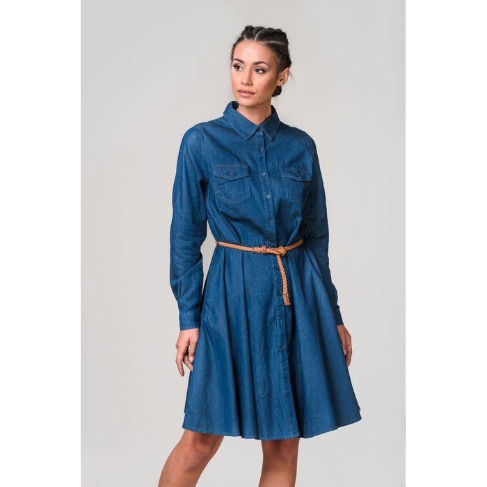 Φόρεμα τζιν μπλε σκούρο μακρυμάνικο με ζωνάκι
