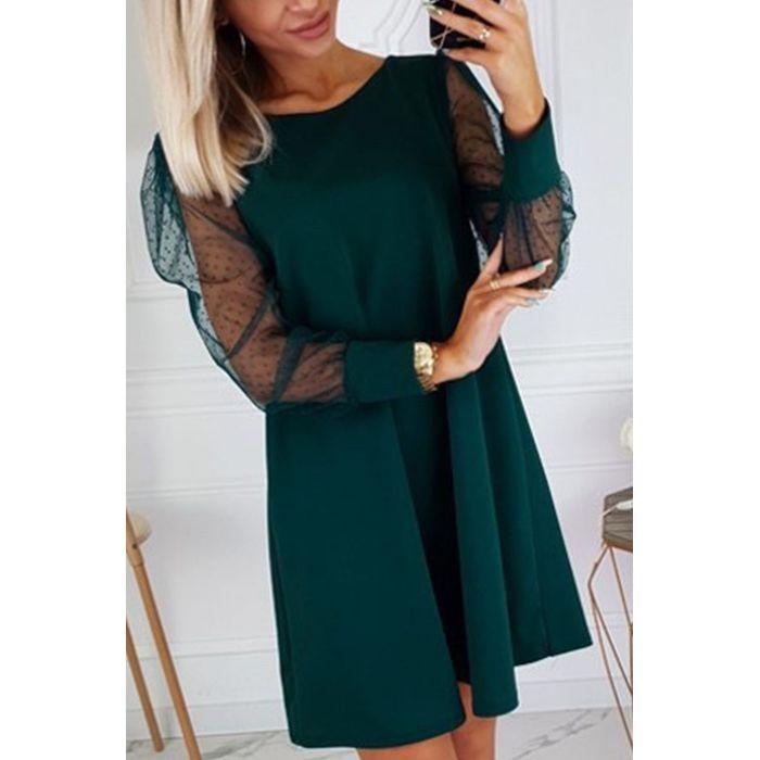 Φόρεμα κυπαρισσί με διάφανο μανίκι πουά