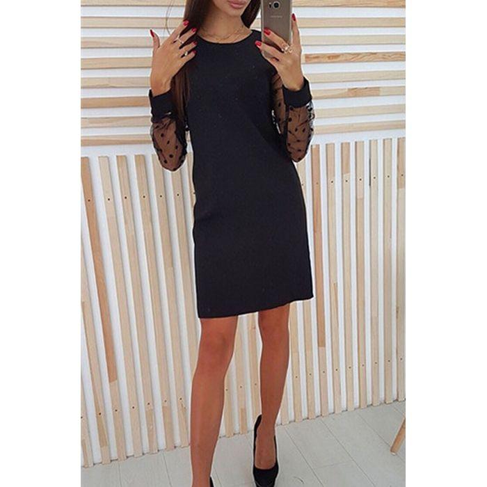 Φόρεμα μαύρο με πουά μανίκι