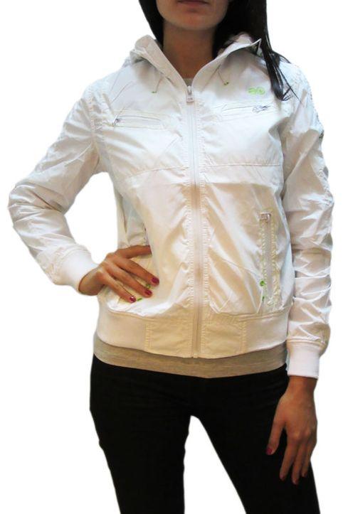 Γυναικείο nylon μπουφάν λευκό με κουκούλα