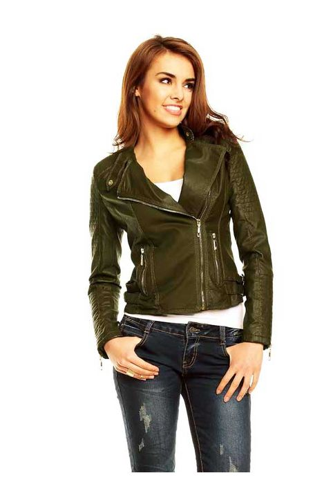 Γυναικείο biker jacket λαδί