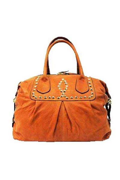 Δερμάτινη τσάντα ταμπά με πριτσίνια