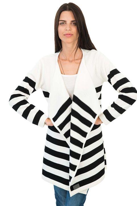 Agel Knitwear πλεκτή ριγέ ζακέτα εκρού
