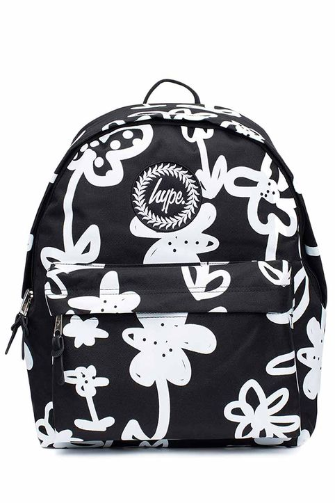 Hype hand style floral backpack black