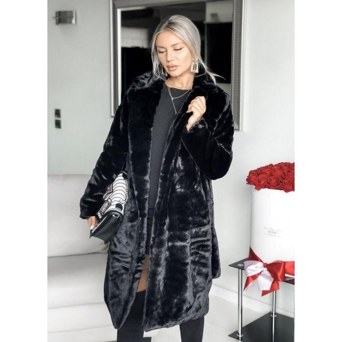 γούνινο παλτό με ζώνη - Μαύρο