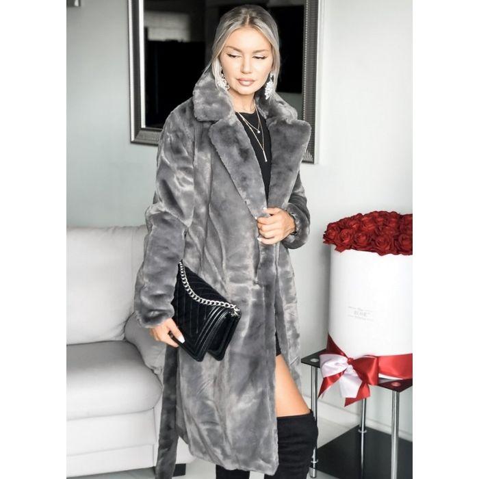 γούνινο παλτό με ζώνη - Γκρι