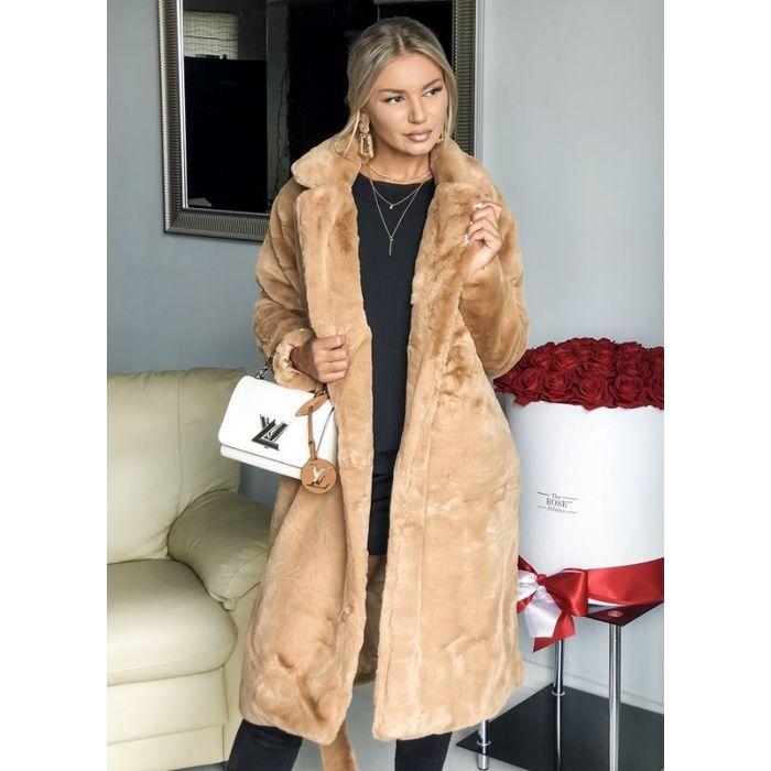 γούνινο παλτό με ζώνη - ταμπά
