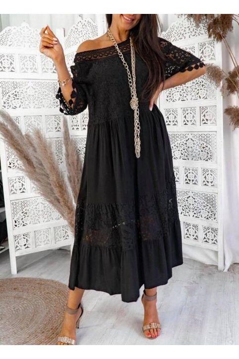 Maxi φόρεμα αέρινο με δαντέλα - Μαύρο