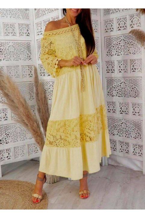 Maxi φόρεμα αέρινο με δαντέλα - Μουσταρδί