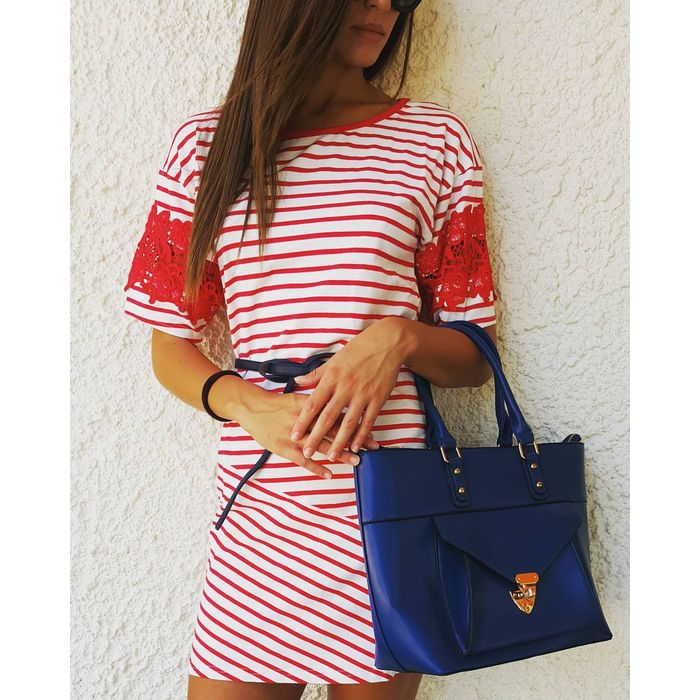 φόρεμα τουνίκ κροσέ mariniere σε κόκκινο/λευκό
