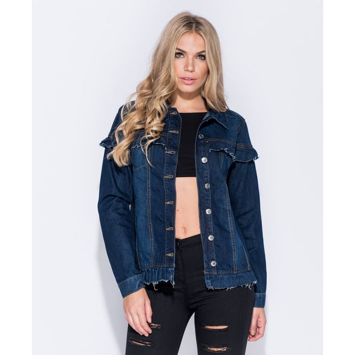 denim frill jacket