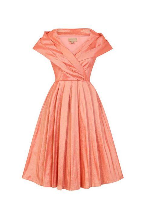 vintage φόρεμα chic taffeta 50s salmon ροζ