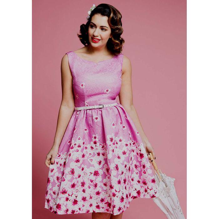 vintage φόρεμα dusky pink floral μπροκάρ Delphia