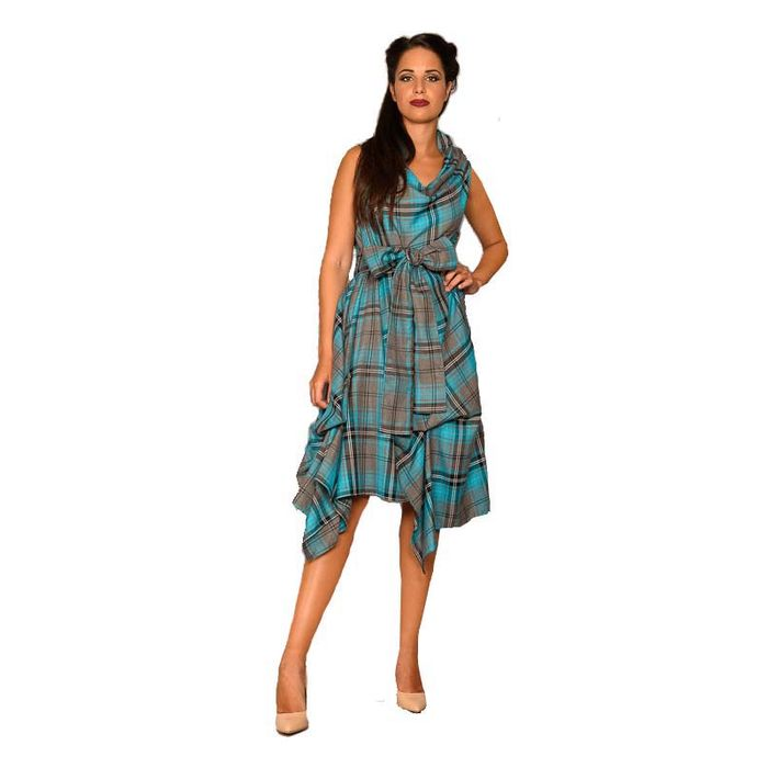 avantgarde chic tartan φόρεμα Vivien 1 teal