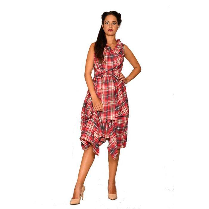 avantgarde chic tartan φόρεμα Vivien 2 coral