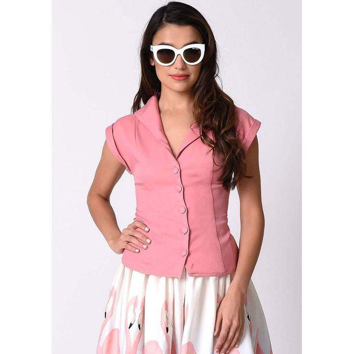 vintage chic πουκάμισο Sarah σε dusky ροζ
