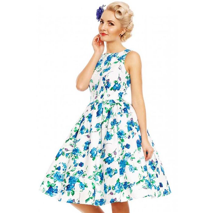 vintage fresh blue floral Aquarelle φόρεμα