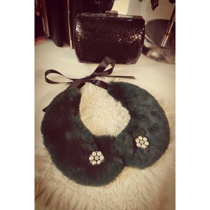 vintage styled γιακάς soft fur & pearls σε forest πράσινο