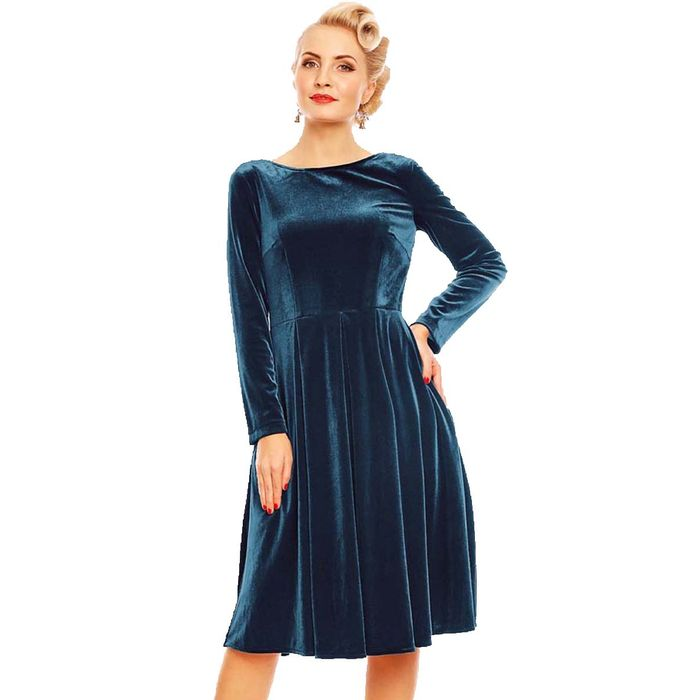 vintage velvet φόρεμα Aurelia σε πετρόλ