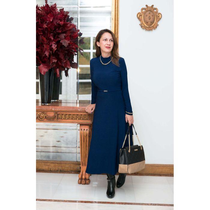 70s φόρεμα slip golden belt σε ink μπλε