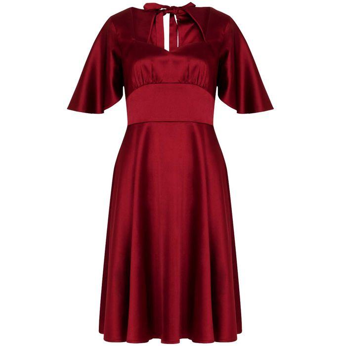 bridal satin vintage φόρεμα cape Bonny wine