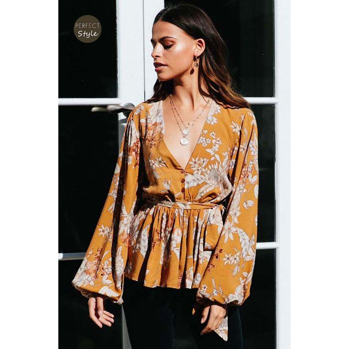 romantic boho chic top Ryden mustard