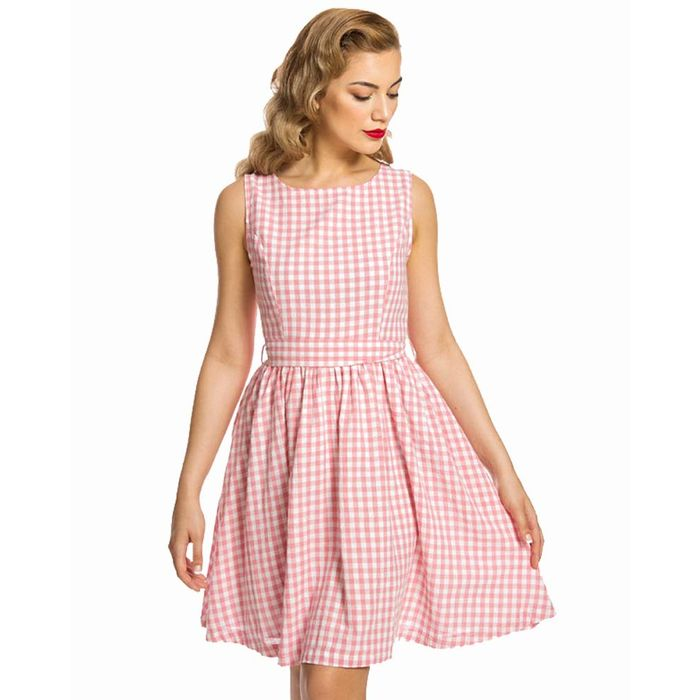sweet vintage country καρώ φόρεμα Audrey pink