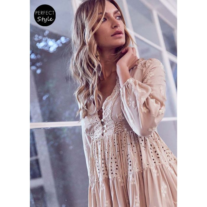 ultimate boho chic φόρεμα broderie Aria vintage poudre