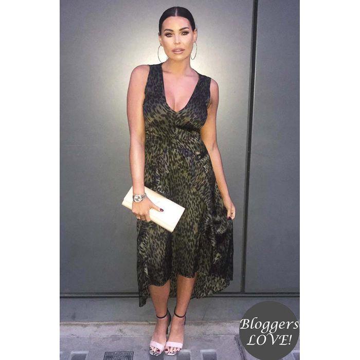 celeb must have satin Safari chic φόρεμα