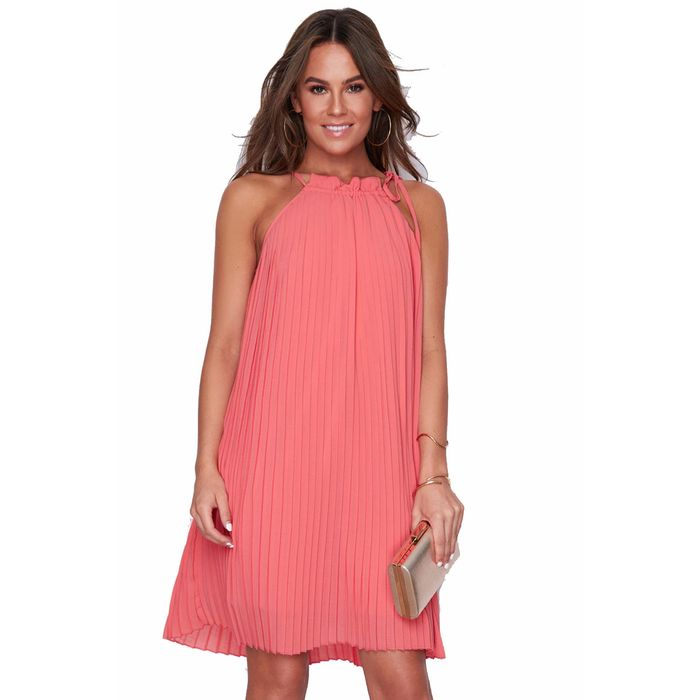 60s summer φόρεμα chiffon πιέτες Natalie