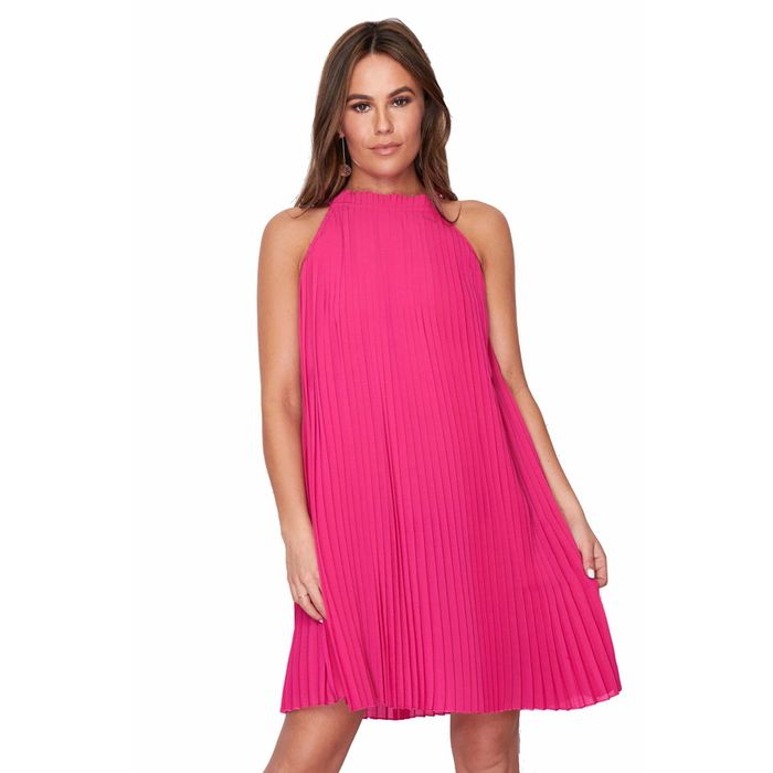 60s summer φόρεμα chiffon πιέτες Natalie hot pink