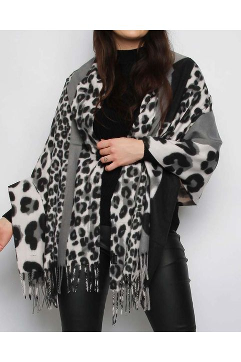 patchwork λεοπάρ ζεστή εσάρπα σε μαύρο