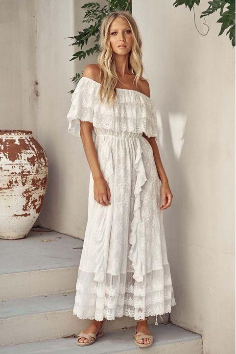 bohemian luxe λευκό φόρεμα δαντέλα Nefertiti
