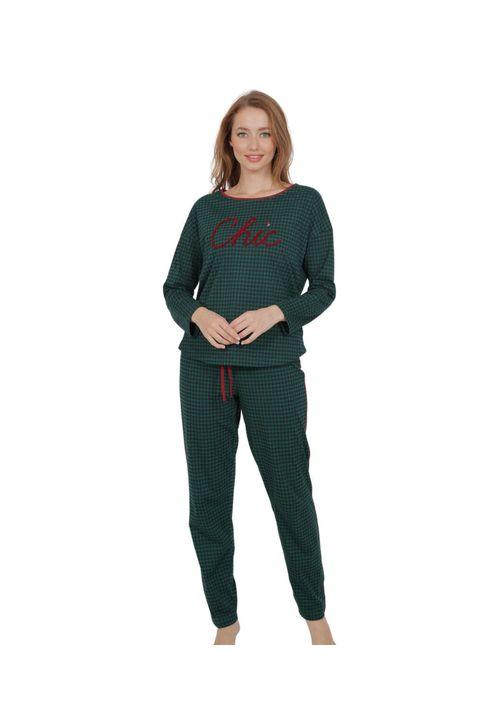 Πράσινη γυναικεία βαμβακερή πυτζάμα με σχέδιο