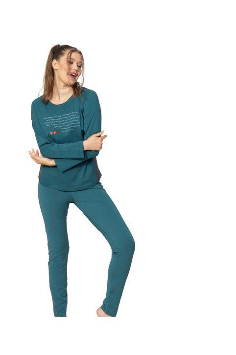 Γυναικεία βαμβακερή πυτζάμα σε πράσινο χρώμα
