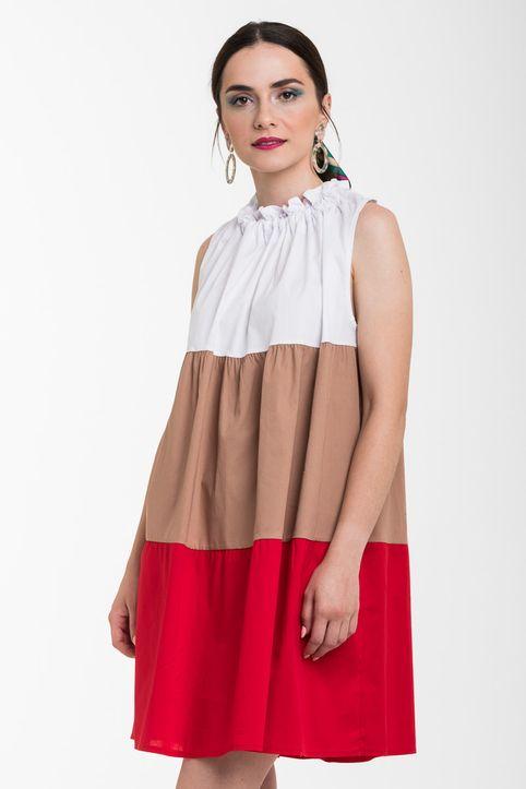 Κοντό Φόρεμα με Διπλό Βολάν Μπεζ Κόκκινο