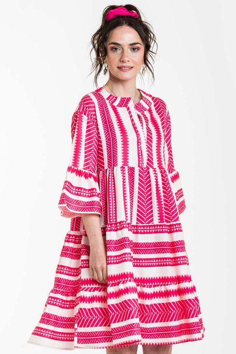 Κόκκινο Κοντό Φόρεμα Έθνικ Ριγέ με Βολάν