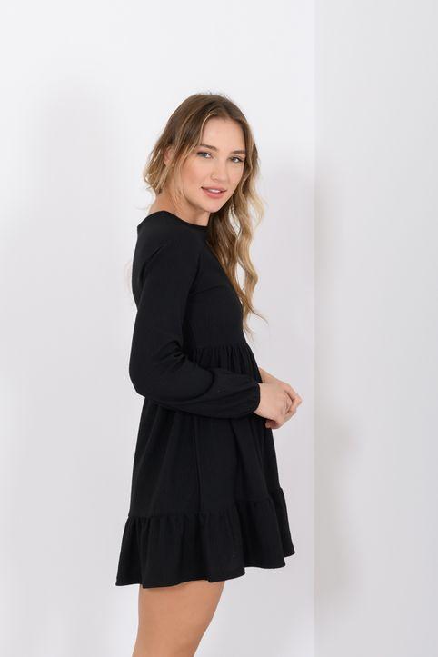 Μίνι φόρεμα με βολάν (BLACK)