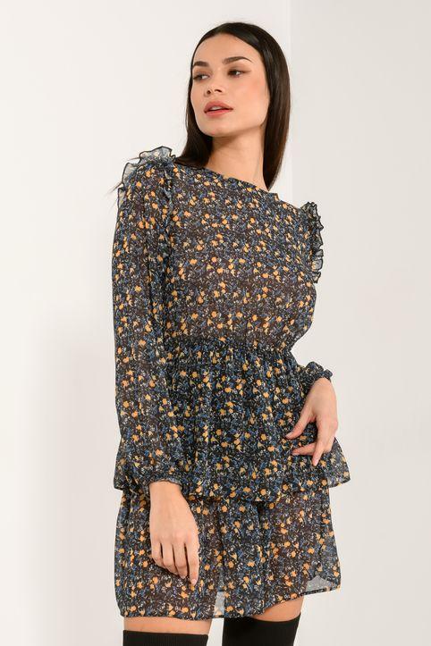 Φόρεμα με βολάν στα μανίκια (MULTI)