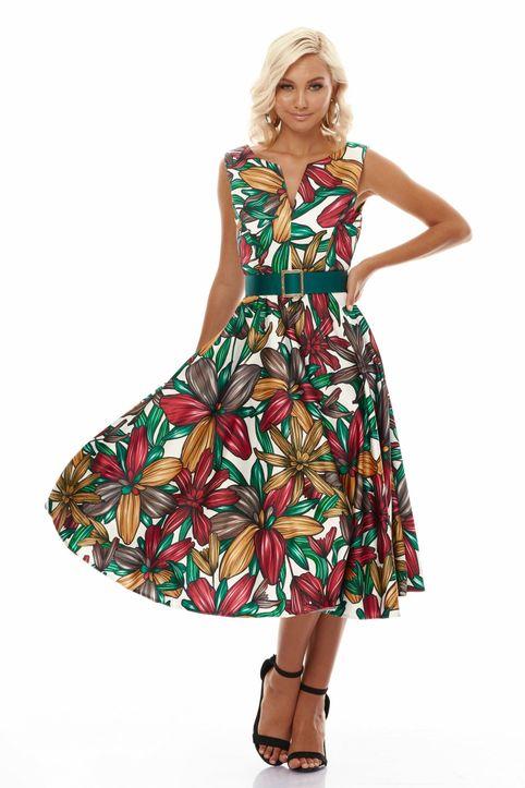 Μίντι Coctail Σατέν Φόρεμα Retro Bloom Τύπος