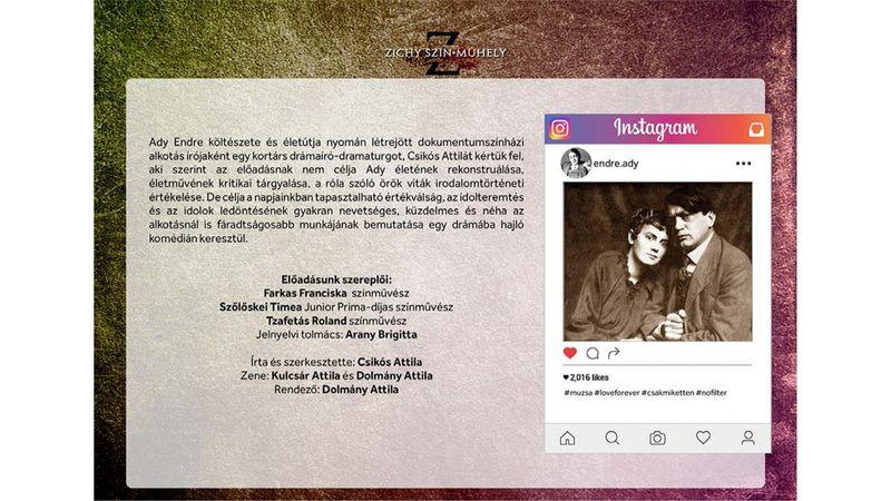 Ady az Instagramon – kortárs dokumentumszínházi előadás készül Ady Endre élete nyomán